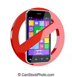 teléfono celular, no, señal