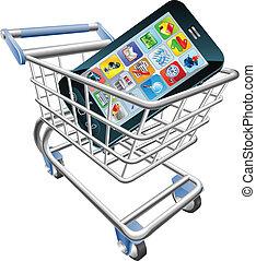 teléfono, concepto, compras, elegante, carrito