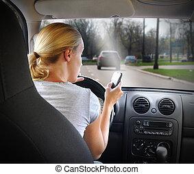 teléfono, conducción, mujer, coche, texting