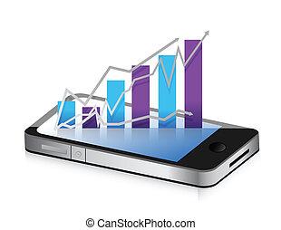 Teléfono de negocios. Un gráfico de negocios inteligente
