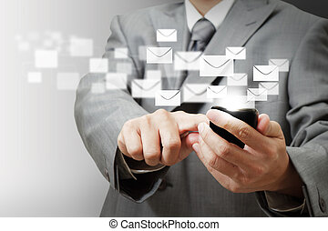 teléfono del negocio, móvil, pantalla, mano, botones, e-mail, tacto, asimiento, hombre