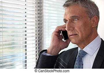 Teléfono ejecutivo frente a la ventana