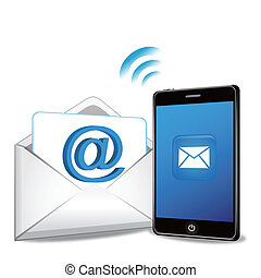teléfono, email, elegante, transmitir