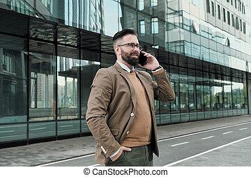 teléfono, hablar, hombre de negocios