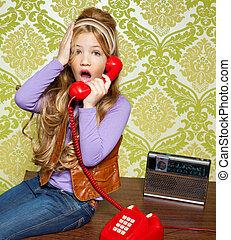 teléfono, hablar, retro, niña, entrometido, rojo, niño