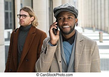 teléfono, hombre conversación