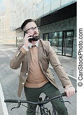 teléfono, hombre, ocupado