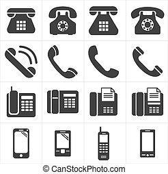 teléfono, icono, smartphon, clásico