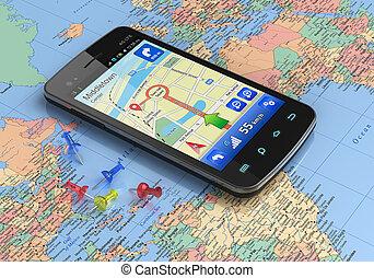 Teléfono inteligente con GPS en el mapa del mundo