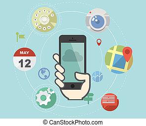 Teléfono inteligente con iconos de aplicación plana