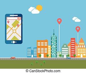 Teléfono inteligente con navegación móvil. Diseño plano de vectores modernos iconos de ilustración de paisajes urbanos y vida en la ciudad