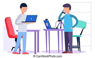 teléfono., las personas hablar, tipo, estudio de grabación, hombre, laptop., trabaja