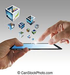 Teléfono móvil a mano transmitiendo imágenes en 3D