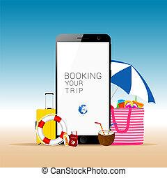 Teléfono móvil con ilustraciones de cosas de playa