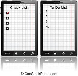 Teléfono móvil con lista de cheques y lista de todo