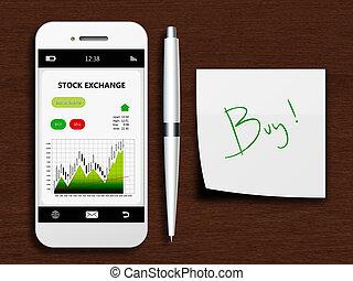 Teléfono móvil con pantalla de bolsa, bolígrafo y nota de compra