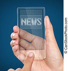 Teléfono móvil moderno transparente con noticias en pantalla