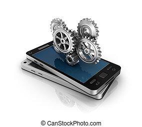 Teléfono móvil y engranajes