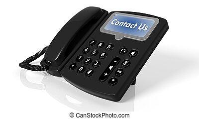 Teléfono negro con Contact Us en pantalla aislada en blanco