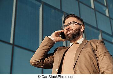 teléfono, ocupado, hombre de negocios
