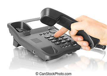 teléfono, oficina, mano