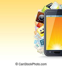 teléfono, poster., elegante, ilustración, apps