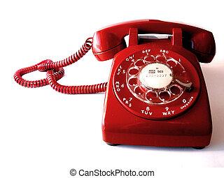teléfono, rojo