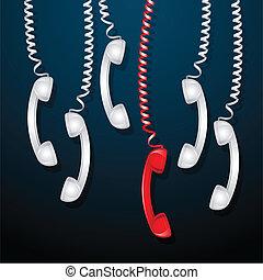 teléfono, rojo, receptor