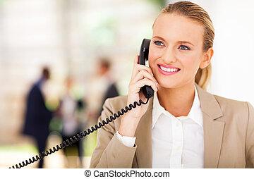 teléfono, trabajador, landline, oficina, hablar