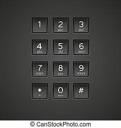 teléfono, vector, eps10, telclado numérico, fondo.