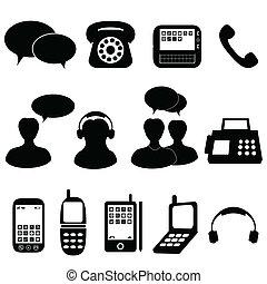 Teléfono y iconos de comunicación