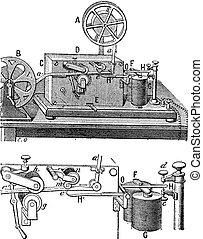 Telégrafo, aparato morse, grabado antiguo.