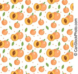 telón de fondo., illustration., albaricoque, vector, plano de fondo, texture., melocotón, seamless, fruits, pattern., interminable