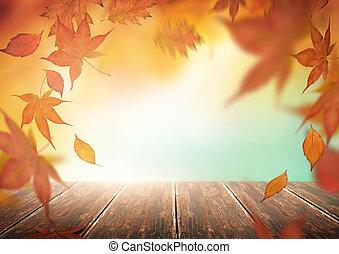 Telón de otoño con hojas cayendo