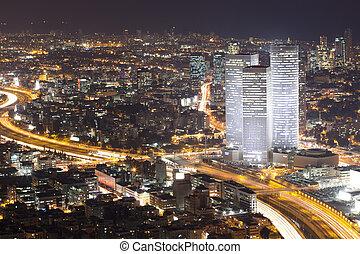 Tel aviv Skyline - ciudad nocturna