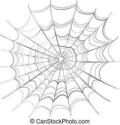 tela, blanco, complicado, araña