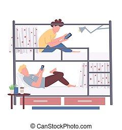 tela, cama, estudiantes, aislado, plano, caricatura, amigos, colegio, faceless, color, vector, gráfico, animation., litera, compartir, compañeros de habitación, parador, characters., dormitorio, alojamiento, ilustración, diseño