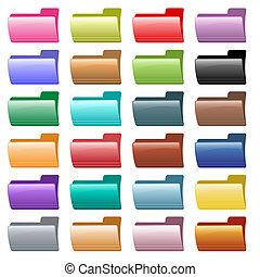 tela, carpeta, iconos, colores, variado