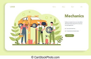 tela, coche, page., aterrizaje, bandera, servicio, utilizar, o, gente, reparación