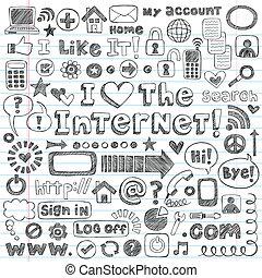 tela, conjunto, garabato, vector, icono de internet