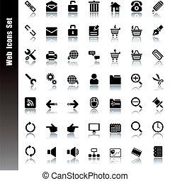 tela, conjunto, iconos