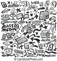 tela, conjunto, medios, -, masa, doodles