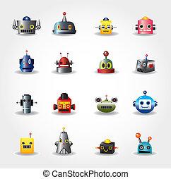 tela, conjunto, -vector, robot, cara, caricatura, icono
