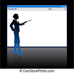 tela, corporación mercantil de mujer, plano de fondo, página en blanco, examinador
