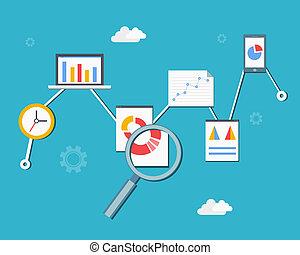tela, estadística, analytics