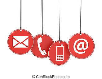 tela, etiquetas, iconos, nosotros, contacto, rojo