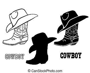 tela, ilustración, vector, botas, norteamericano, occidental, blanco, gráfico, conjunto, aislado, hat., vaquero