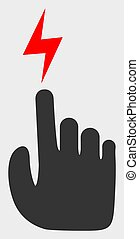 tela, malla, eléctrico, brillante, mano, lightspots