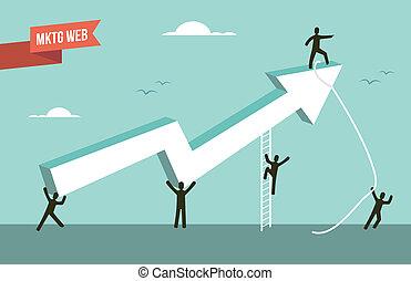 tela, mercadotecnia, gráfico, ilustración, estrategia, flecha