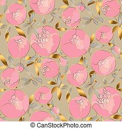 tela, motivo, oro, primavera, superficie, style., design., peonías, flor, flor, vendimia, pattern., seamless, relación, plano de fondo, rosado, lujo, textil, 60s, envoltura, delicado, floral, blumming, papel, peón